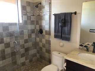 The ensuite bath for Bedroom 2 has a lovely walk-in shower.