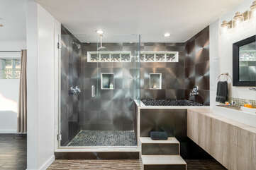 En Suite Master Bath with a Shower and Separate Soaking Tub