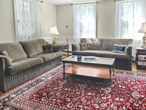 Living room with two comfy couches - 98 West Road Orleans Cape Cod New England Vacation Rentals