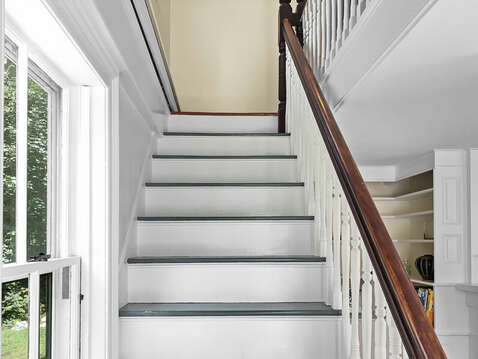 Staircase to second floor - Captains House stairs can be inconsistent in height - be careful! - 98 West Road Orleans Cape Cod New England Vacation Rentals