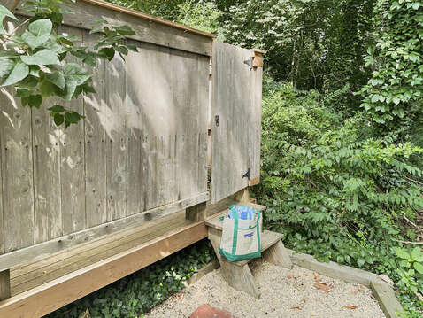 Lush greenery as you shower outside - 98 West Road Orleans Cape Cod New England Vacation Rentals