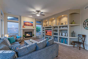 Charming gas fireplace in great room will warm you on a cool winter evening.