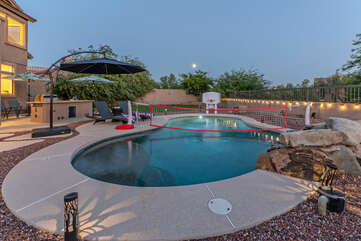 Private pool has optional heating and a volley ball net for fast action ball play.