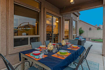 We're betting the covered patio with ceiling fan will be your preferred place to wine and dine.
