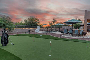 The backyard oasis has something for everybody, including a newly added putting green! WOW!