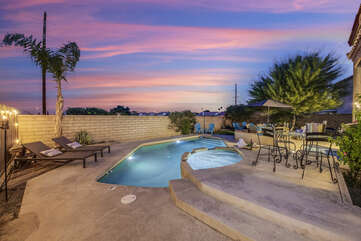 This resort-style home is located in the heart of the Coachella Valley and is perfect for all your vacation needs