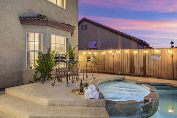 Put the kids down for bed and head back out to enjoy the night in the heated spa.