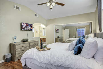 Master Suite 1 features a switch-controlled ceiling fan, and large reach-in closet.