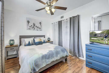 Bedroom 2 is located on the second floor to the right and features a Queen-sized Bed, 28-inch TCL with Roku Smart television.