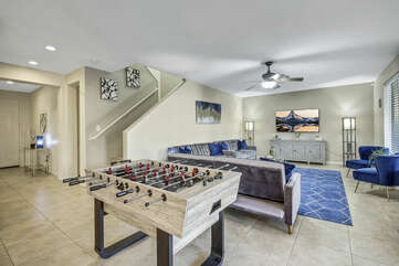 Everyone can hang out in this fun and spacious area before heading upstairs for a good nights rest.