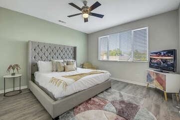 Master Suite 1 is located to the left of the landing area and features a King-sized Bed.