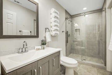 Adjoining, bathroom with Bedroom 5 features a tile shower and a vanity sink.