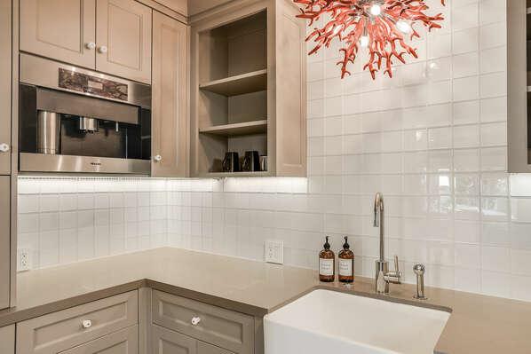 Kitchen off Twin Bedroom w/ Built-In Miele Coffee Machine - 1st Floor