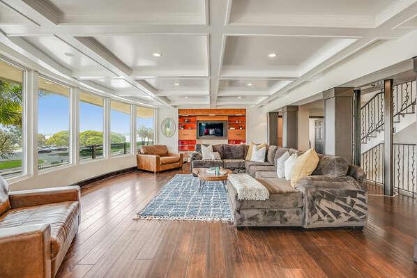Living Room w/ Bay Views + TV Room - 2nd Floor