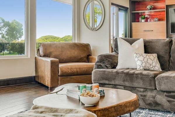Living Room w/ Bay Views - 2nd Floor