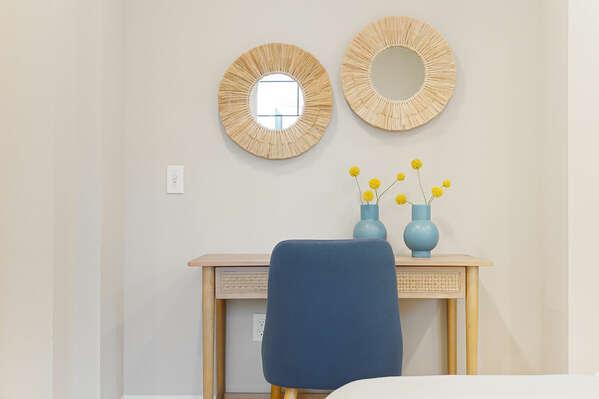 Guest Bedroom w/ Work From Home Desk - 1st Floor