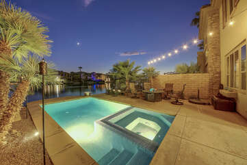 Take a dip in the refreshing pool while lunch is being prepared on the propane fueled barbecue.