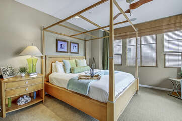 Master Suite 1 is located upstairs to the right of the landing and features a King-sized Bed.