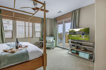 Master Suite 1 features a 50-inch Vizio Smart television, switch-controlled ceiling fan, and large walk-in closet.