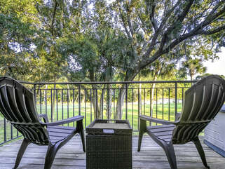 Deck with views of the golf course