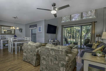 A large inviting open space. Great windows and slider to let in the beautiful light.