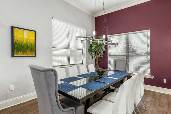 Eat a delicious meal with your loved ones on this 10 seater dining table.
