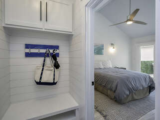 This great entry nook is off the guest bedroom, a perfect drop zone.